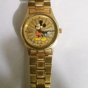 Goldtone Vintage Mickey Mouse Seiko Watch